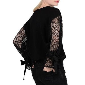 MOLLY BRAKEN | Lace Sleeves With Ribbons Sweater